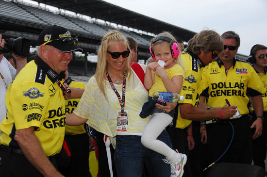 Ed Carpenter's wife, Heather, celebrates with the couple's daughter, Makenna. Ed will start the Indianapolis 500 in the 8th position