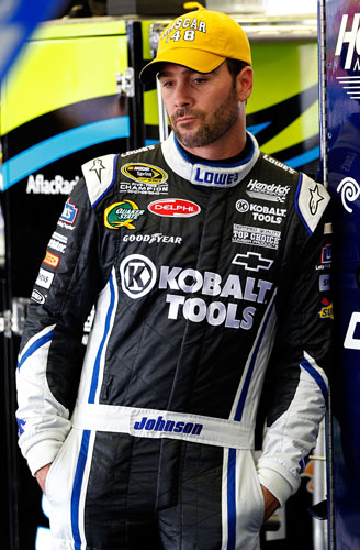 Jimmie Johnson wears the famous Jim Hunter NASCAR hat in the garage Friday at Darlington Raceway  (Credit: Geoff Burke/Getty Images for NASCAR)