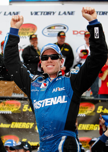 Carl Edwards celebrates his 32nd career NASCAR Nationwide Series win on Saturday at Dover International Speedway in Dover, Del. (Credit: Jeff Zelevansky/Getty Images for NASCAR)