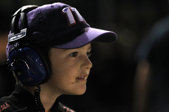 A young Denny Hamlin fan watches the hometown favorite race during the Crown Royal presents the Matthew and Daniel Hansen 400 at Richmond International Raceway. (Credit: Streeter Lecka/Getty Images for NASCAR)
