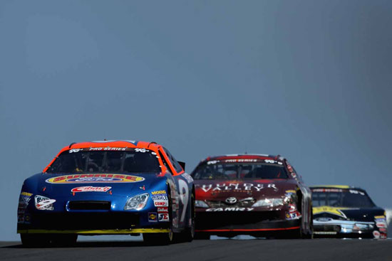 David Gilliland leads Paulie Harraka at Infineon.(Credit: Getty Images for NASCAR)