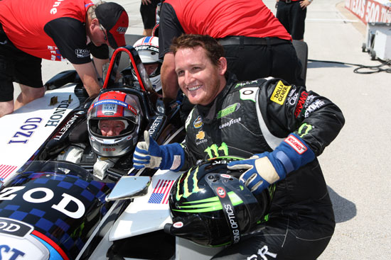 Ricky Carmichael poses with Mario Andretti. Ricky got to take a ride in the two-seater IndyCar with Mario.