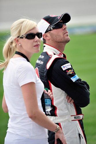 Team owner DeLana Harvick and husband/driver Kevin Harvick stand on the grid during NASCAR Nationwide Series Coors Light Pole Qualifying on Saturday at Chicagoland Speedway in Joliet, Ill. (Credit: Jason Smith/Getty Images for NASCAR)