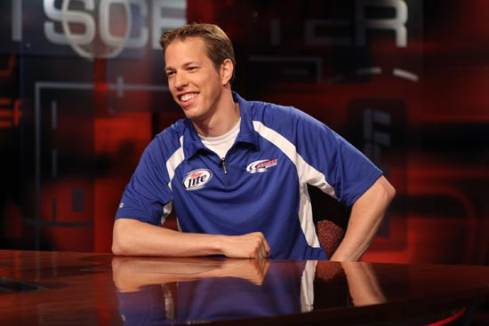 Brad Keselowski was the big man on ESPN's campus in Bristol, Conn., on Thursday, August 11, 2011. (Credit: ESPN)