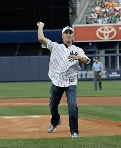 NASCAR Sprint Cup Series driver Kevin Harvick throws out the first pitch on Wednesday at Yankee Stadium in the Bronx, N.Y. before the Los Angeles Angels-New York Yankees game. (credit: New York Yankees)