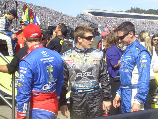 Jamie McMurray, Andy Lally and Casey Mears