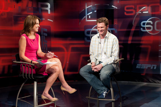 Anchor Hannah Storm interviews NASCAR Sprint Cup Series driver Dale Earnhardt Jr. during the 9 a.m. SportsCenter on Wednesday. (Credit: Joe Faraoni)