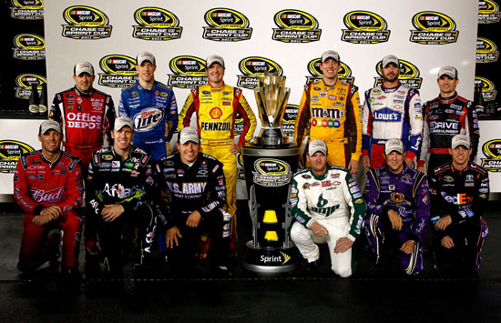 (Back row L-R) Tony Stewart, Brad Keselowski, Kurt Busch, Kyle Busch, Jimmie Johnson and Jeff Gordon (front row L-R) Kevin Harvick, Carl Edwards, Ryan Newman, Dale Earnhardt Jr., Matt Kenseth and Denny Hamlin pose after clinching spots in the Chase for the NASCAR Sprint Cup following the NASCAR Sprint Cup Series Wonderful Pistachios 400 at Richmond International Raceway on Saturday. (Credit: Jeff Zelevansky/Getty Images)