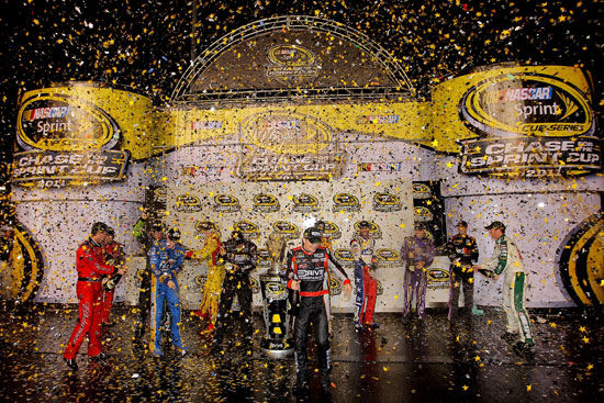 The 2011 Chase for the NASCAR Sprint Cup field celebrates after the NASCAR Sprint Cup Series Wonderful Pistachios 400 on Saturday at Richmond International Raceway. (Credit: Justin Edmonds/Getty Images for NASCAR)