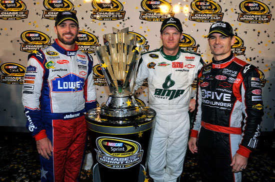 Jimmie Johnson, Dale Earnhardt Jr. and Jeff Gordon qualified for the Chase for the NASCAR Sprint Cup after the race weekend at Richmond (Va.) International Raceway. (Courtesy of Hendrick Motorsports)