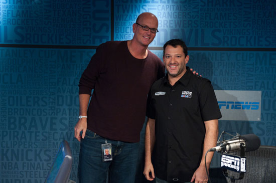 The Scott Van Pelt Show with Scott Van Pelt and Chase for the NASCAR Sprint Cup leader Tony Stewart...Credit: Joe Faraoni/ESPN