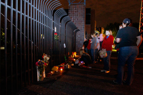 Fans created a memorial at Indianapolis Motor Speedway