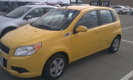 Yellow Chevy Aveo