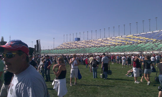 The scene in the infield