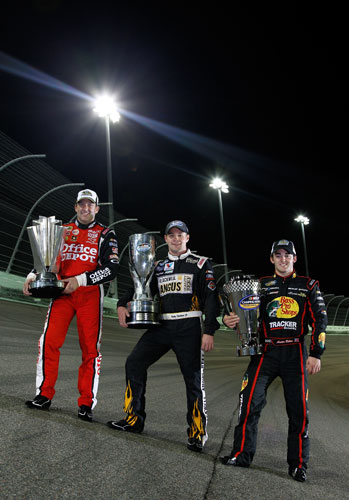 2011 NASCAR champions Tony Stewart, Ricky Stenhouse Jr. and Austin Dillon (Credit: Chris Graythen/Getty Images for NASCAR)