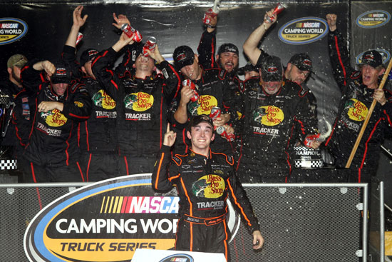 Austin Dillon celebrates his first NASCAR Camping World Truck Series championship with his Richard Childress Racing team at Homestead-Miami Speedway. (Credit: By Jerry Markland, Getty Images for NASCAR)