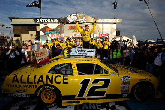 Sam Hornish Jr. celebrates his first career NASCAR Nationwide Series victory on Saturday at Phoenix International Raceway in Avondale, Ariz. (Credit: Rainier Ehrhardt/Getty Images for NASCAR)