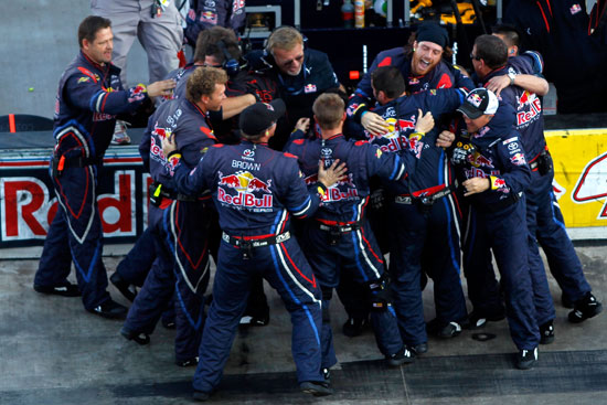 The No. 4 Red Bull Racing Team celebrates after winning the NASCAR Sprint Cup Series Kobalt Tools 500 on Sunday at Phoenix International Raceway in Avondale, Ariz. (Credit: Todd Warshaw/Getty Images for NASCAR)