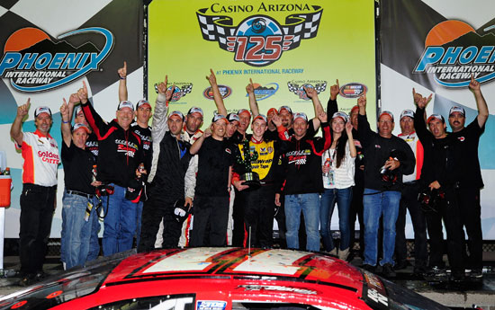 Ryan Blaney celebrates with his team in Phoenix Victory Lane. (Credit: Rainier Ehrhardt/Getty Images for NASCAR)