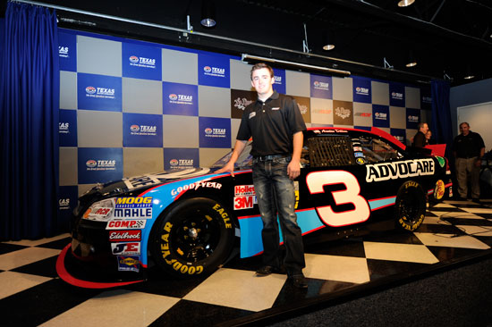 Austin Dillon poses with the #3 Advocare Chevrolet for the 2012 NASCAR Nationwide Series at Texas Motor Speedway on Nov. 4, 2011, in Fort Worth, Texas. (Credit: John Harrelson/Getty Images for NASCAR)