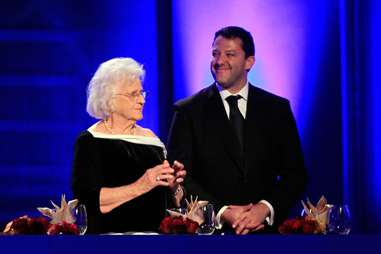 Margaret Haas stands next to Tony Stewart during the NASCAR Sprint Cup Series Champion's Week Awards Ceremony at Wynn Las Vegas on Dec. 2, 2011, in Las Vegas, Nev.