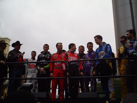 The top-12 drivers are introduced to the fans lining The Strip for the Victory Lap