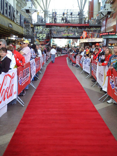 The FanFest red carpet at the Fremont Street Experience