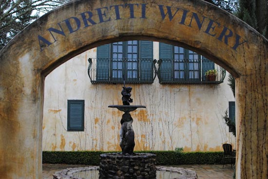 The courtyard at Andretti Winery was beautiful (even in the rain!)