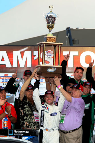Ricky Stenhouse Jr. raises the NASCAR Nationwide Series Sam's Town 300 on Saturday at Las Vegas Motor Speedway in Las Vegas, Nev. (Credit: Justin Edmonds/Getty Images for NASCAR)