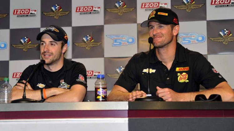 FYI: This is an older photo of James Hinchcliffe (left) and Ryan Hunter-Reay. (Credit: Russ Lake Photo)