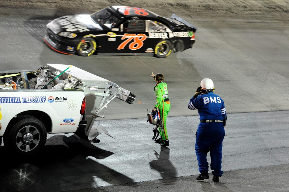 2012-Bristol2-Danica-Patrick-Wags-Finger-At-Regan-Smith-After-Incident