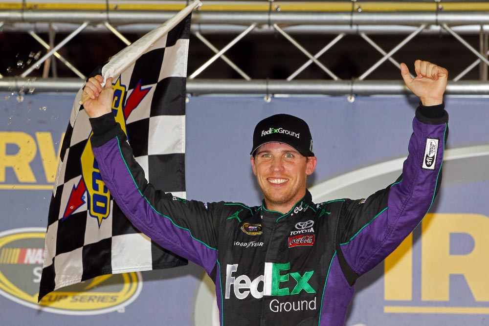 2012-Bristol2-Denny-Hamlin-Celebrates-With-Checkered-Flag