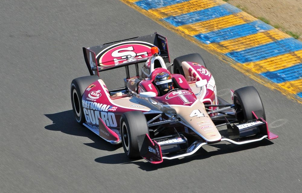 The No. 4 National Guard IndyCar will don a full 49ers paint scheme for this weekend's GoPro Indy Grand Prix of Sonoma at the racetrack in Sonoma, California. (Credit: N. Jacobson)