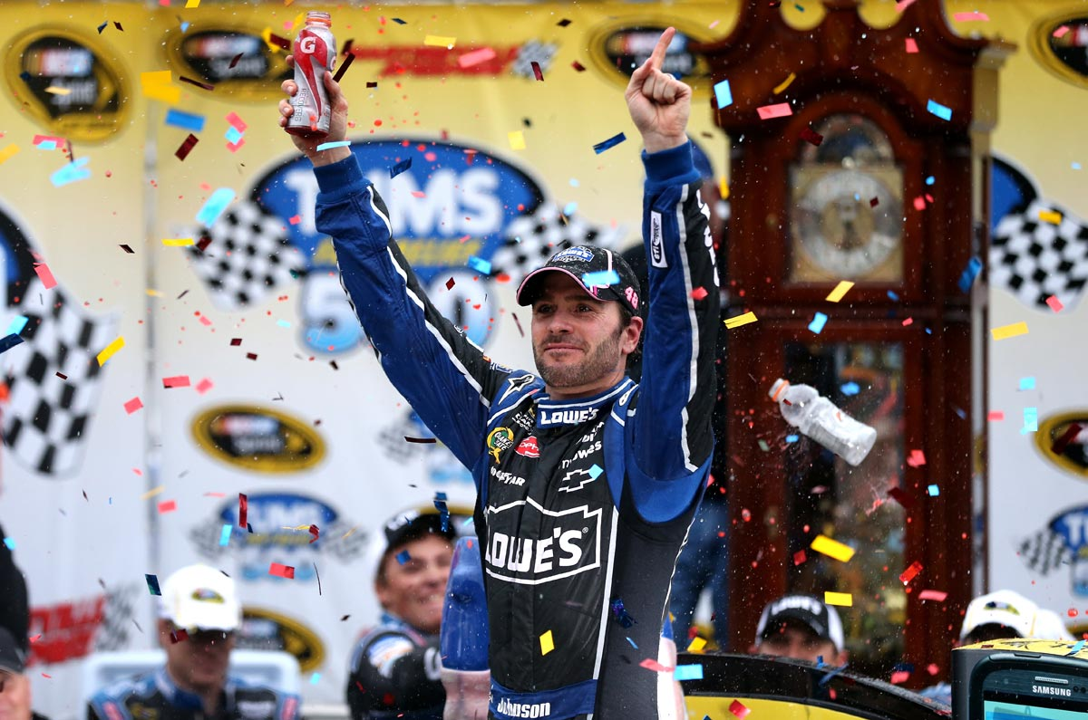 2012-Martinsville2-Jimmie-Johnson-Celebrates-In-Victory-Lane
