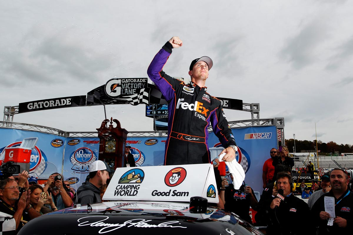 2012-Martinsville2-Trucks-Denny-Hamlin-Celebrates-In-Victory-Lane