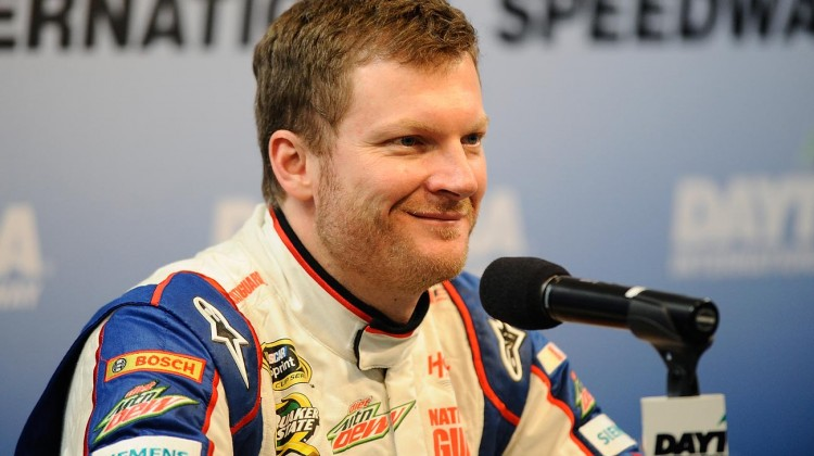 Dale Earnhardt Jr., driver of the #88 Chevrolet, speaks with the media during NASCAR Sprint Cup Series Preseason Thunder testing at Daytona International Speedway on January 11, 2013 in Daytona Beach, Florida. (Credit: Jared C. Tilton/Getty Images for NASCAR)
