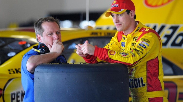 Joey Logano (R), driver of the #22 Ford, talks with his crew chief Todd Gordon during NASCAR Sprint Cup Series Preseason Thunder testing at Daytona International Speedway on January 10, 2013 in Daytona Beach, Florida. (Credit: Jared C. Tilton/Getty Images for NASCAR)