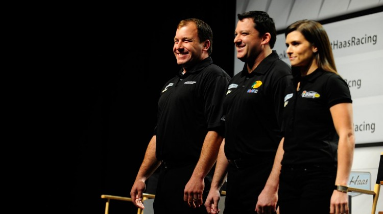 Ryan Newman, Tony Stewart and Danica Patrick of Stewart Haas Racing on January 21, 2013 in Concord, North Carolina. (Credit: Jamey Price/Getty Images for NASCAR)