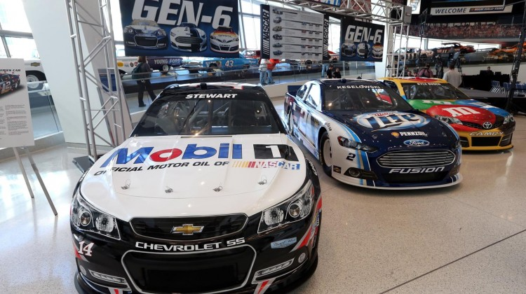 A general view of the new Generation Six race cars during the 2013 NASCAR Sprint Media Tour at the NASCAR Hall of Fame on January 22, 2013 in Concord, North Carolina. (Credit: Streeter Lecka/Getty Images for NASCAR)
