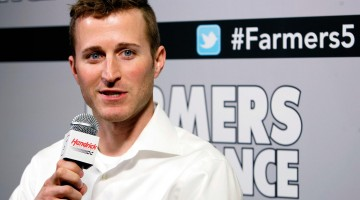 Kasey Kahne, driver of the No. 5 Farmers Insurance Chevrolet SS, during Hendrick Motorsports' stop on the Charlotte (N.C.) Motor Speedway Media Tour on Wednesday, Jan. 23. (Courtesy of Hendrick Motorsports)