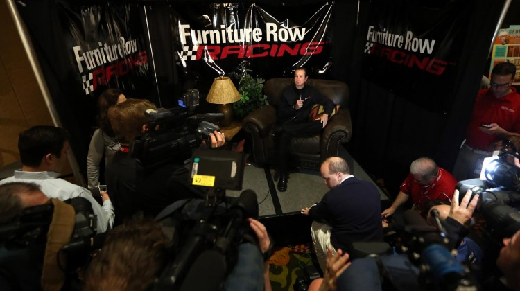 Kurt Busch, driver for Furniture Row Racing, speaks to the media during the 2013 NASCAR Sprint Media Tour on January 22, 2013 in Concord, North Carolina. (Credit: Streeter Lecka/Getty Images for NASCAR)