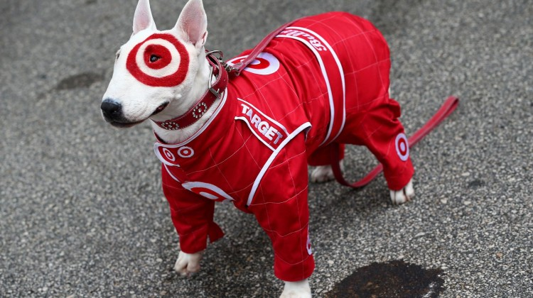 Target Mascot Bullseye stands in the garage area prior to the NASCAR Sprint Cup Series Daytona 500 at Daytona International Speedway on February 24, 2013 in Daytona Beach, Florida. (Credit: Tom Pennington/NASCAR via Getty Images)