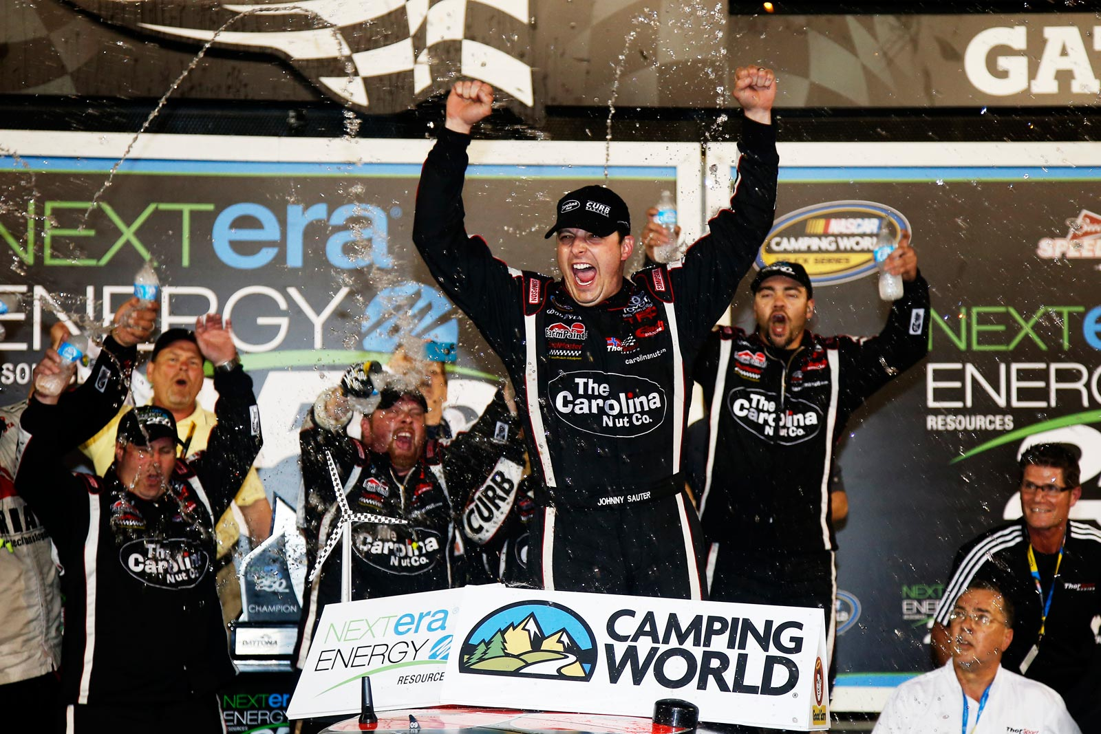 Daytona-Truck-Johnny-Sauter-Celebrates-In-Victory-Lane