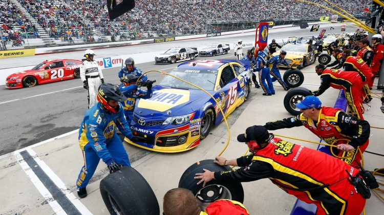Clint Bowyer, driver of the #15 NAPA Filters Toyota, pits during the NASCAR Sprint Cup Series Food City 500 at Bristol Motor Speedway on March 17, 2013 in Bristol, Tennessee. (Credit: Jared Wickerham/Getty Images)