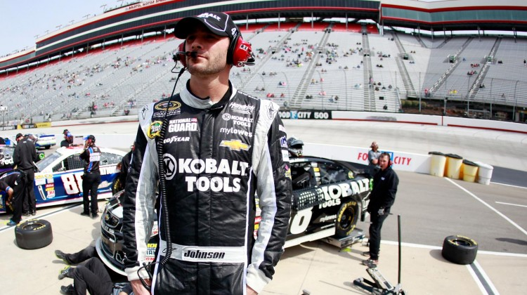 Jimmie Johnson, driver of the #48 Lowe's/Kobalt Tools Chevrolet, stands in the garage area during practice for the NASCAR Sprint Cup Series Food City 500 at Bristol Motor Speedway on March 15, 2013 in Bristol, Tennessee. (Photo by Sean Gardner/Getty Images for NASCAR)