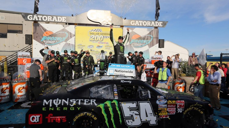 Kyle Busch, driver of the #54 Monster Toyota, celebrates in victory lane during the NASCAR Nationwide Series Dollar General 200 fueled by AmeriGas at Phoenix International Raceway on March 2, 2013 in Avondale, Arizona.