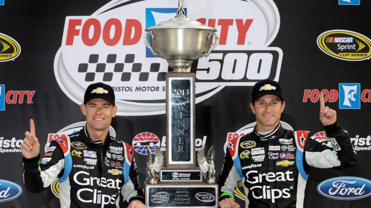 Kasey Kahne (right), driver of the NASCAR Sprint Cup #5 Great Clips Chevrolet SS celebrates his victory with Crew Chief Kenny Frances after winning the Food City 500 Sunday, March 17, 2013 at Bristol Motor Speedway in Bristol, Tennessee. (Photo by Harold Hinson for Chevrolet)