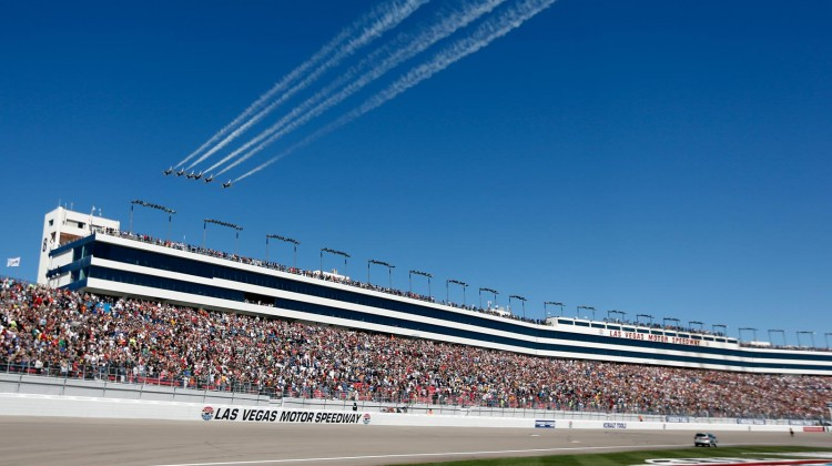 The US Air Force Thunderbirds fly over during pre-race ceremonies for the NASCAR Sprint Cup Series Kobalt Tools 400 at Las Vegas Motor Speedway on March 10, 2013 in Las Vegas, Nevada. (Credit: Chris Graythen/Getty Images)