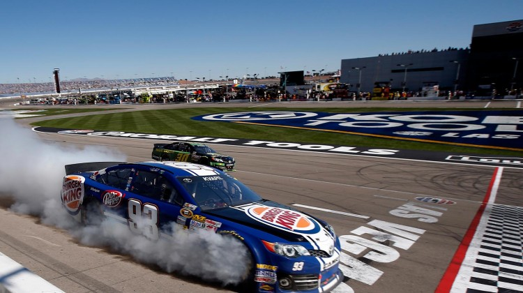 Travis Kvapil, driver of the #93 Burger King/Dr. Pepper Toyota, blows his engine during the NASCAR Sprint Cup Series Kobalt Tools 400 at Las Vegas Motor Speedway on March 10, 2013 in Las Vegas, Nevada. ( Credit: Nick Laham/Getty Images)