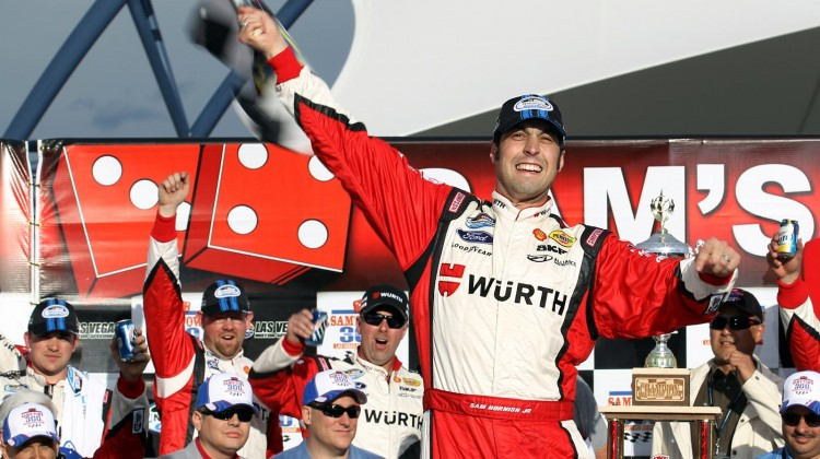 Sam Hornish Jr., driver of the #12 Wurth Ford, celebrates in Victory Lane after winning the NASCAR Nationwide Series Sam's Town 300 at Las Vegas Motor Speedway on March 9, 2013 in Las Vegas, Nevada. (Photo by Todd Warshaw/Getty Images)